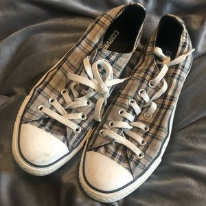 Grey, black and red plaid Converse low tops